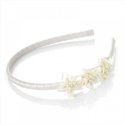 Triple Flower and Pearl Centre Alice Hair Band